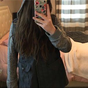 Blueish Grey Knit Sleeve Hooded Utility Jacket